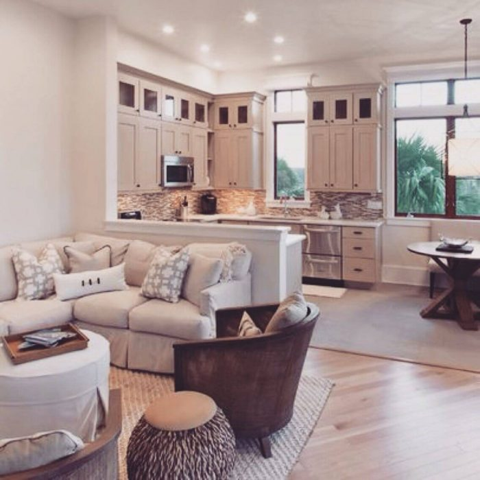 KITCHEN CORNER LIVING ROOM COMBO IDEAS