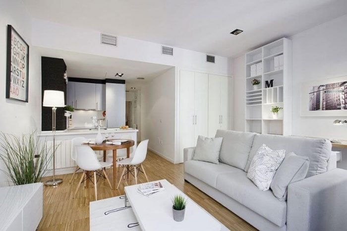 WHITE OPEN FLOOR KITCHEN LIVING ROOM COMBO