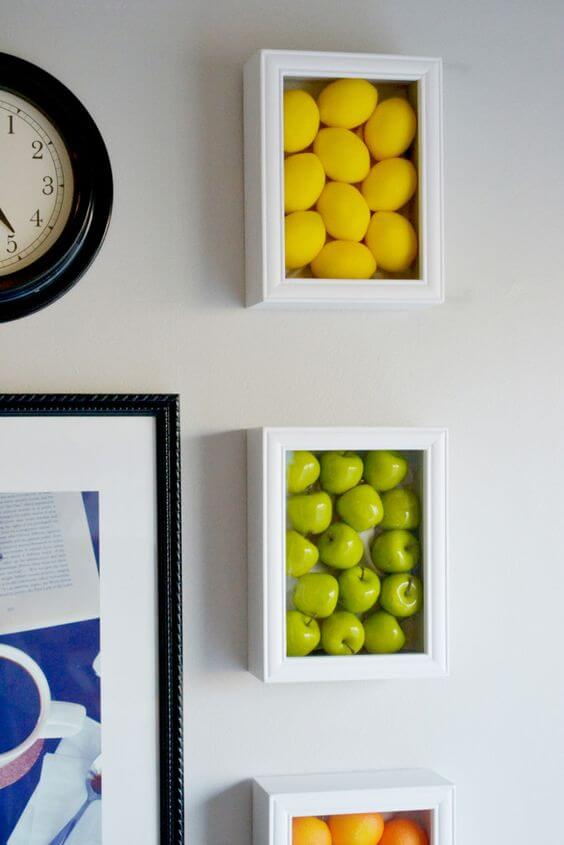 AWESOME FRUIT ART IN FRAMES IDEAS FOR APARTMENT KITCHEN WALL DECORATION