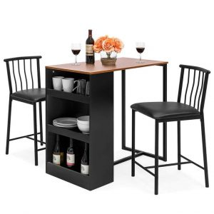 BLACK STORAGE DINING TABLE SET FOR APARTMENT KITCHEN