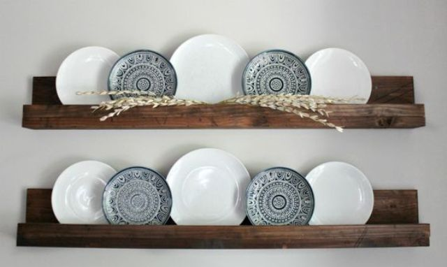 PLATES DISPLAY AND DARK STAINED WOODEN SHELVES FOR APARTMENT KITCHEN DECOR