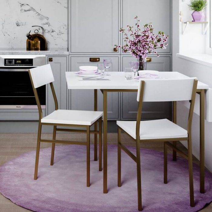 SOPHISTICATED DROP LEAF TABLE WHITE GOLD BISTRO SET FOR APARTMENT KITCHEN
