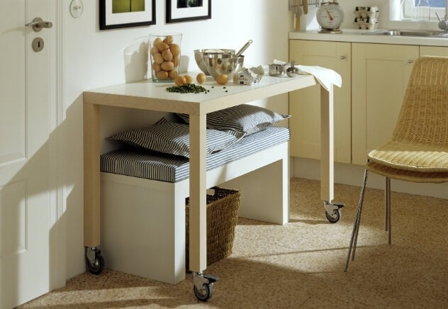 WHEELED TABLE FOR SMALL APARTMENT KITCHEN IDEAS