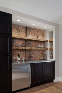 BRICK AND WOODEN ACCENT BASEMENT APARTMENT KITCHEN MAKEOVER IDEAS