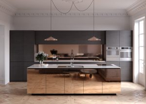 COPPER FINISH CABINETRY FOR MODERN MINIMALIST APARTMENT KITCHEN DESIGN IDEAS