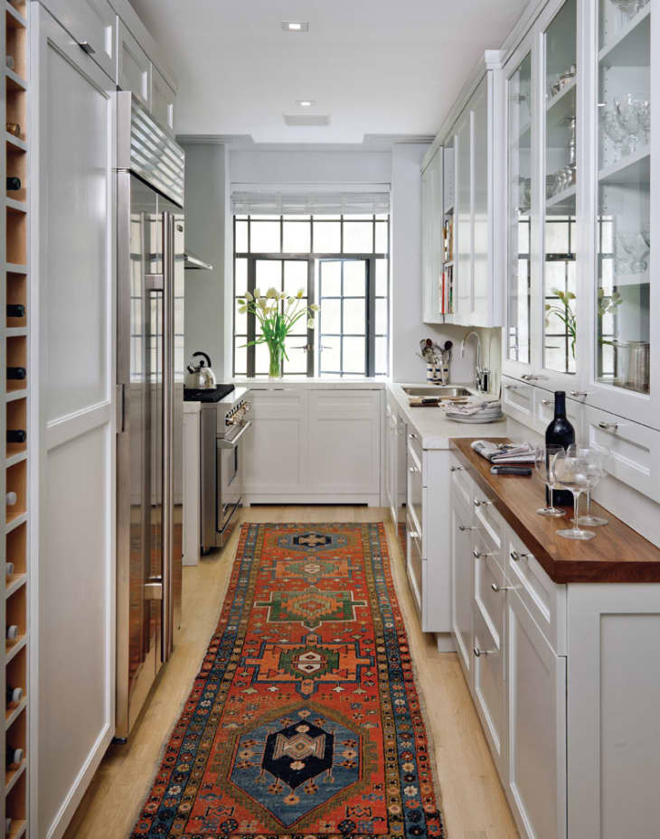 GALLEY KITCHEN IDEAS WITH CABINET GLASS DOOR FOR DISPLAY