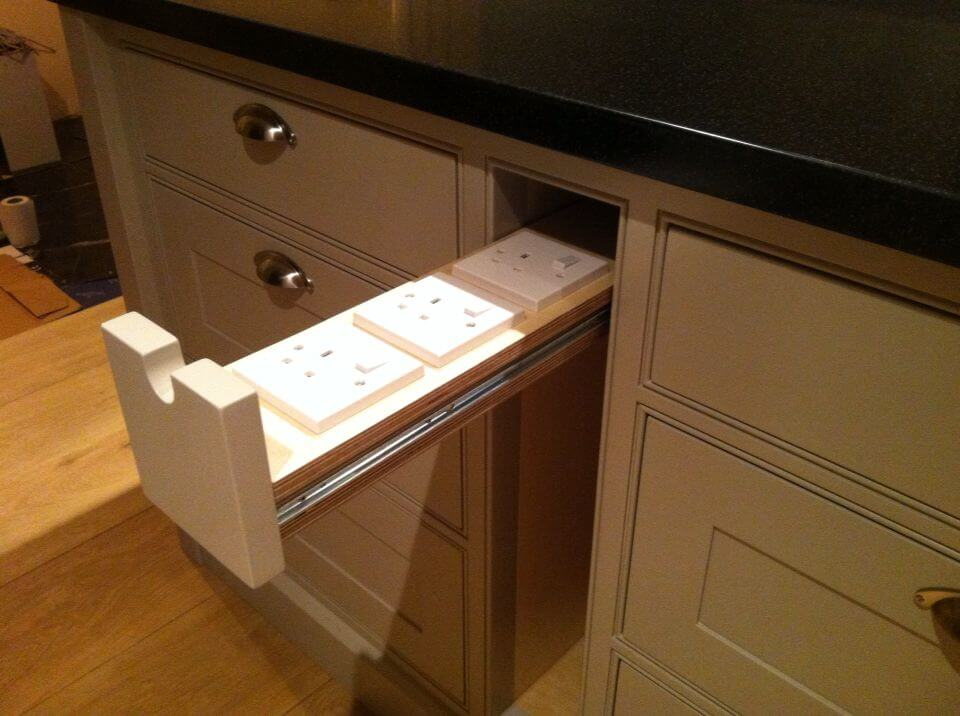 INSTALL ELECTRIC SOCKET FOR KITCHEN CABINET PULL OUTS