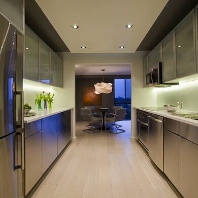 SUPER SLEEK LOOK GALLEY KITCHEN DESIGN IDEAS