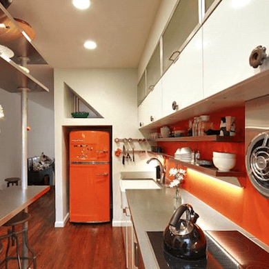 VINTAGE BOLD GALLEY KITCHEN DESIGN IDEAS