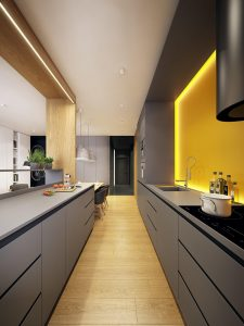 YELLOW BACKSPLACH FOR MODERN MINIMALIST APARTMENT KITCHEN STYLE
