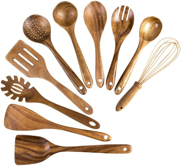 10 Packs of Wooden Cooking Spoon Utensils by XDOWMO