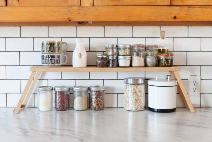 CREATIVE SPACE SAVING IDEAS FOR SMALL KITCHENS WITH WITH EXTRA LEVEL FOR SHELF