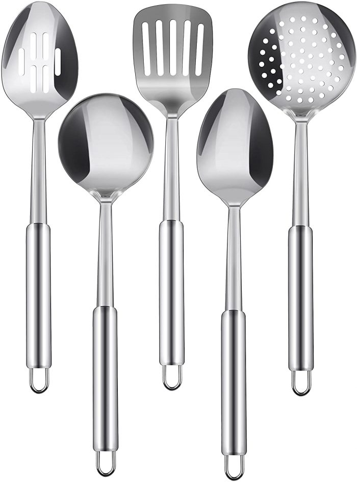 Stainless Steel Cooking Utensil Set - 5-Piece Serving Spoons by Utopia Kitchen Store