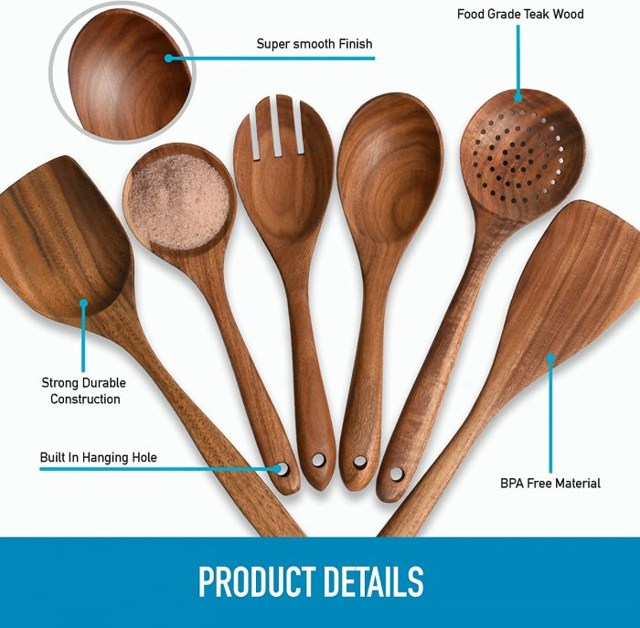 Wooden Utensils For Cooking by Zulay Kitchen