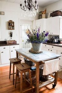 FARMHOUSE SMALL KITCHEN IDEAS WITH MOVABLE KITCHEN ISLAND