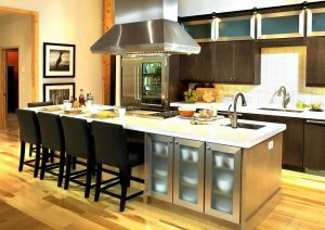 COMFORTABLE SEAT FOR LONG KITCHEN ISLAND FOR SMALL SPACE