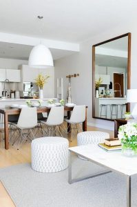 SMALL KITCHEN DESIGN IDEAS WITH MIRROR, DINING TABLE, AND BENCH