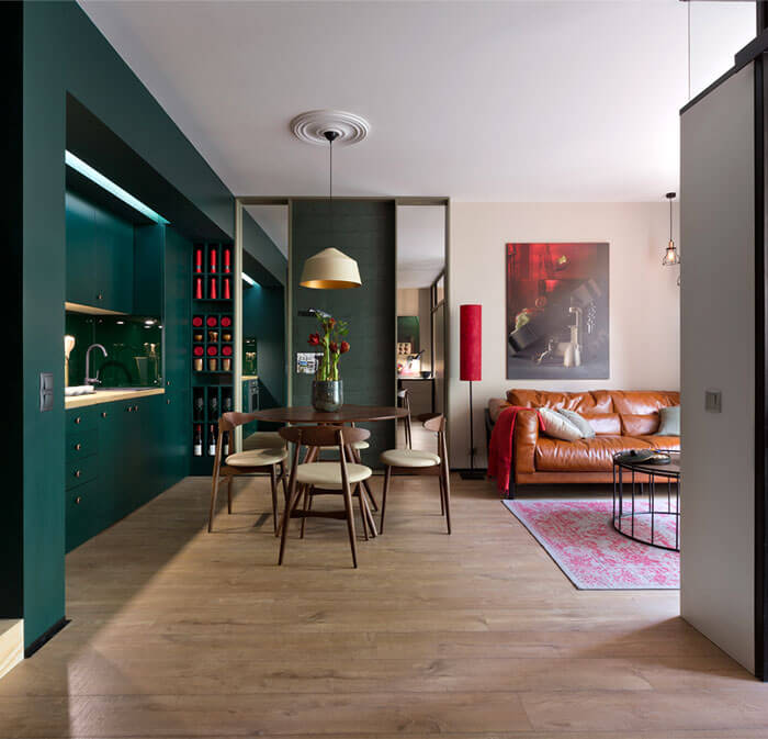 SMALL KITCHEN LIVING ROOM COMBO LINEAR LAYOUT