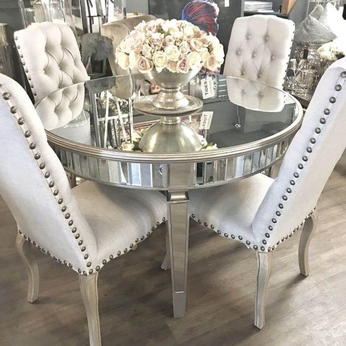 SMALL ROUND KITCHEN TABLE TOP WITH MIRROR