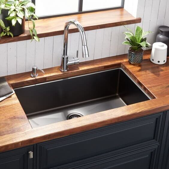 BLACK STEEL AND BROWN WOOD TURN OUT TO BE PERFECT COMBINATION FOR SMALL KITCHEN SINK DIMENSIONS