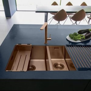 ELEGANT COPPER MATERIAL FOR SMALL KITCHEN SINK DIMENSIONS