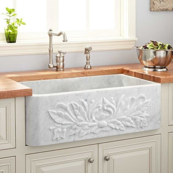 LUXURY FARMHOUSE MARBLE MATERIAL FOR SMALL KITCHEN SINK DIMENSIONS