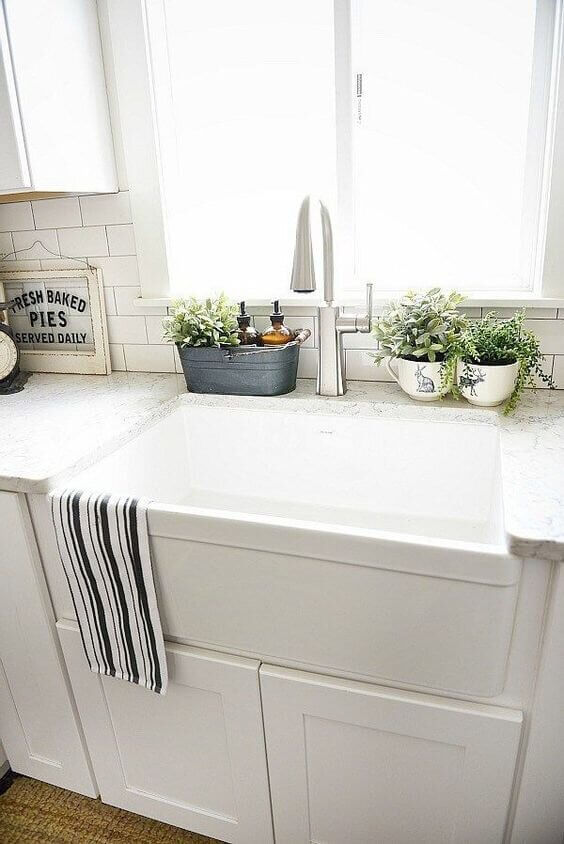 PUT SOME PLANTS FOR SMALL KITCHEN SINK DIMENSIONS AS DECORATION IDEAS