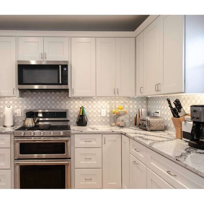 BRIGHT SMALL BASEMENT KITCHEN WITH LIGHTS