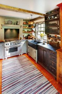 COMBINED COLOR SMALL CABIN KITCHEN IDEAS