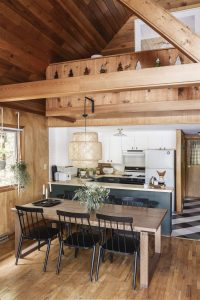 HANGING POT OR PAN IN THE SMALL CABIN KITCHEN DESIGN IDEAS