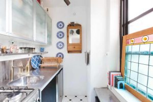 MIX OF BOHEMIAN AND UTILITARIAN SMALL GALLEY KITCHEN IDEAS ON A BUDGET