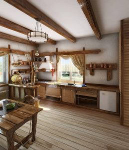 NATURAL WOODWORK SMALL CABIN KITCHEN IDEAS
