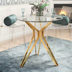 STUNNING IDEAS FOR SMALL KITCHEN GLASS AND GOLD DINING TABLE WITH 2 CHAIRS