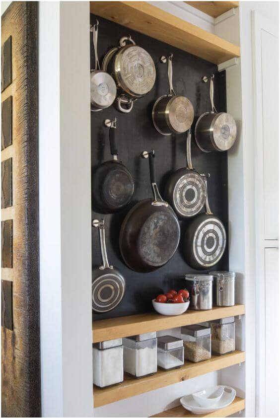 CHALKBOARD CABINET FOR HANG POTS AND PANS IN SMALL KITCHEN
