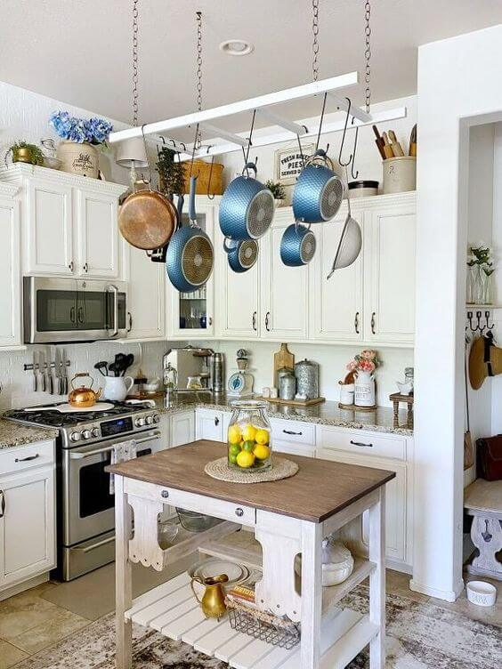 HANG POTS AND PANS OVER THE KITCHEN ISLAND IN SMALL KITCHEN