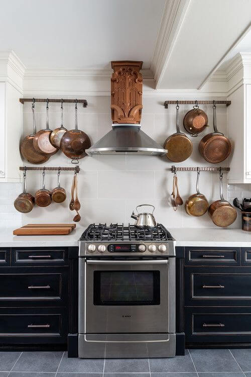 HANG POTS AND PANS OVER THE STOVE IN SMALL KITCHEN