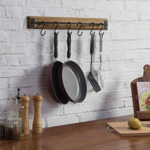 HANG POTS AND PANS RIGHT OVER THE COUNTER IN SMALL KITCHEN