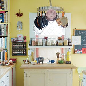 HANG POTS AND PANS WITH ROTATING RACK IN SMALL KITCHEN