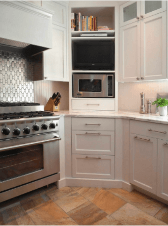 Maximize The Cabinets in the Corner As A Right Place for the Microwave