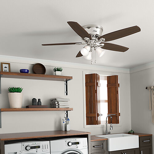 SMALL KITCHEN CEILING FANS SILVER AND WOOD