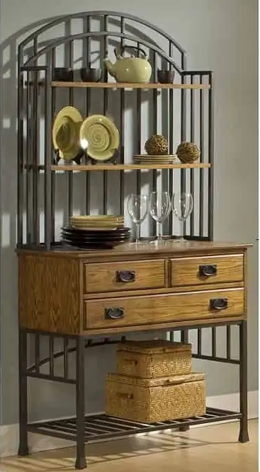 SMALL KITCHEN HOME STYLES BAKERS RACK WITH OAK HUTCH