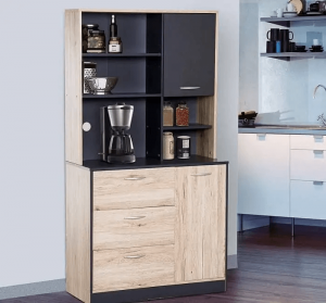 SMALL KITCHEN HUTCH BLACK AND WOOD