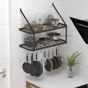 WALL MOUNTED RACK FOR HANG POTS AND PANS IN SMALL KITCHEN