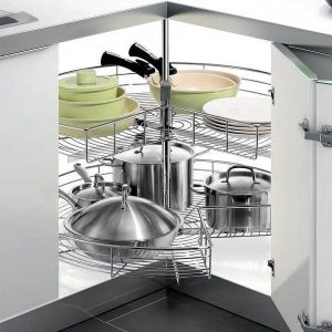 CORNER KITCHEN CABINET TO STORE POTS AND PANS IN A SMALL KITCHEN