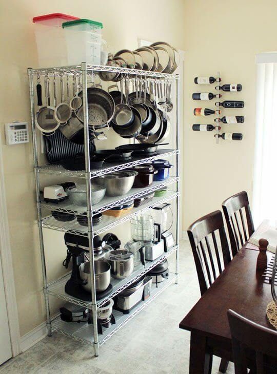 OPEN WIRE RACK TO STORE POTS AND PANS IN A SMALL KITCHEN