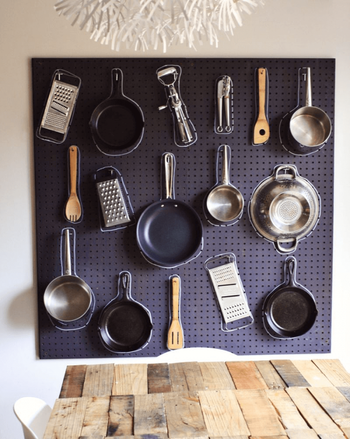 PEGBOARD TO STORE POTS AND PANS IN A SMALL KITCHEN