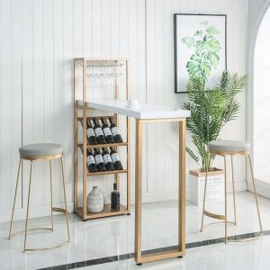 SMALL KITCHEN BAR TABLE GOLD SET WITH WINE RACK