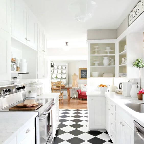AWESOME CHESS TILES FOR SMALL KITCHEN FLOORING