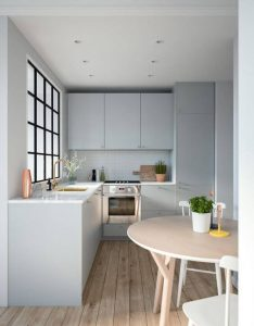 CLEAN LINES AND NATURAL LIGHT L SHAPED KITCHEN DESIGNS FOR SMALL KITCHENS