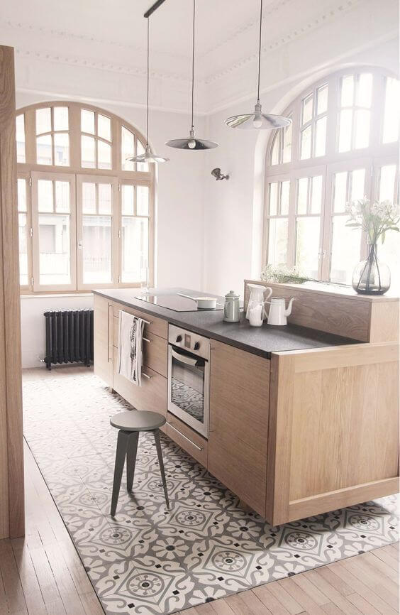 PATTERNED AND WOODEN SMALL KITCHEN FLOOR TILE